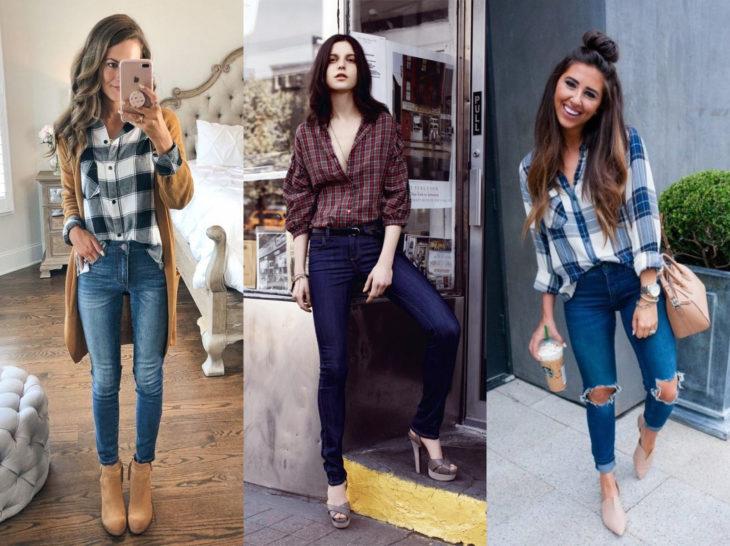 Outfits con blusa de leñador; camisa de cuadros con jean