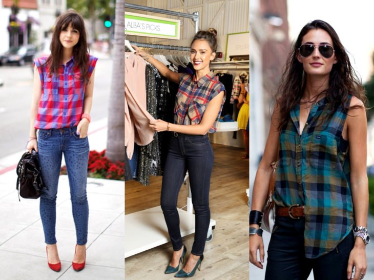 Outfits with lumberjack blouse; plaid sleeveless shirt