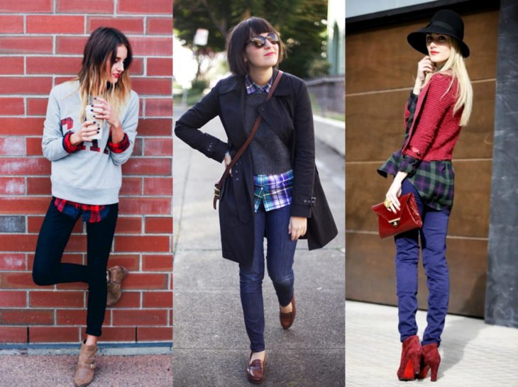 Outfits with lumberjack blouse; plaid shirt with sweater