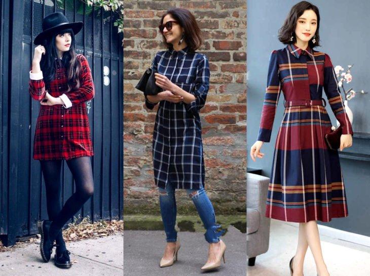 Outfits with lumberjack blouse; plaid shirt as dress