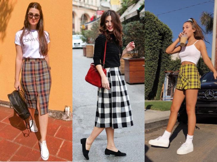 Outfits con blusa de leñador; falda de cuadros