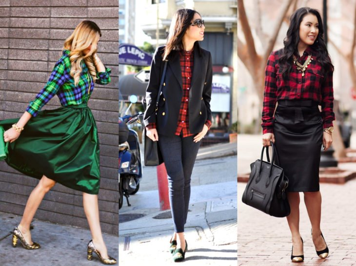 Outfits with lumberjack blouse; checkered shirt with formal style