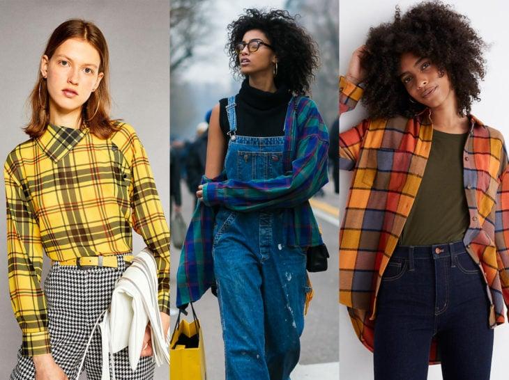 Outfits con blusa de leñador; camisa de cuadros de colores anaranjado, amarillo y azul