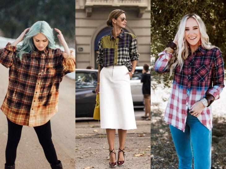 Outfits con blusa de leñador; camisa de cuadros bicolor