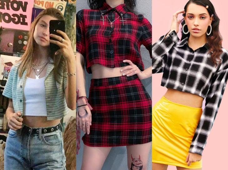 Outfits con blusa de leñador; camisa de cuadros crop top