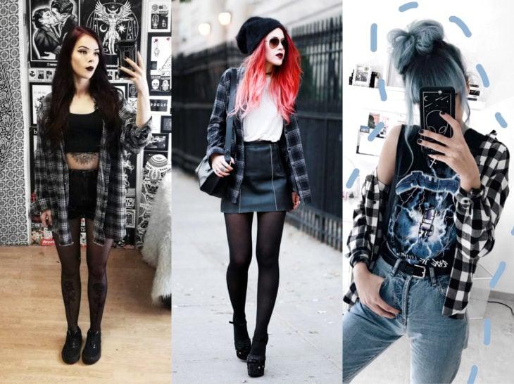 Outfits con blusa de leñador; camisa de cuadros estilo rockero