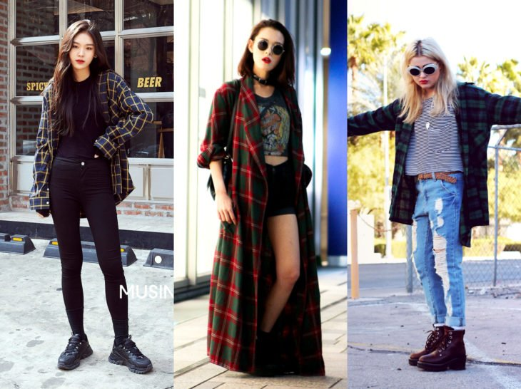 Outfits with lumberjack blouse; oversized check shirt