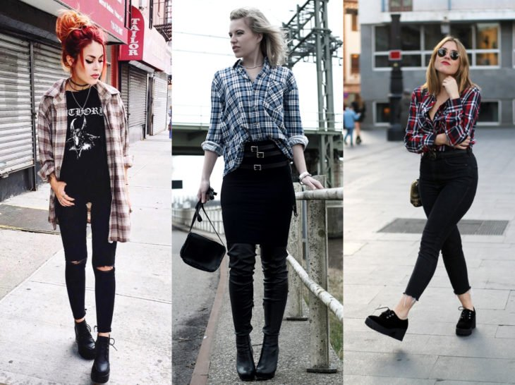 Outfits with lumberjack blouse; black jean check shirt