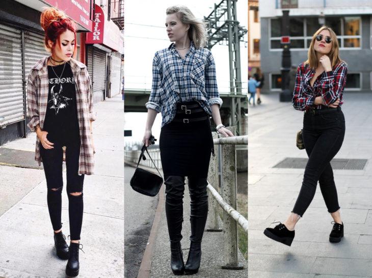 Outfits con blusa de leñador; camisa de cuadros con jean negro