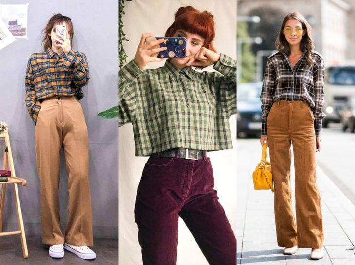 Outfits con blusa de leñador; camisa de cuadros con pantalón de vestir