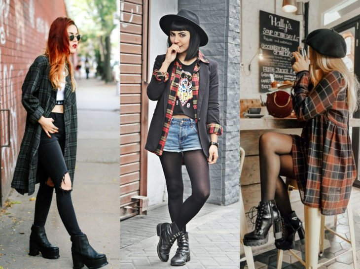 Outfits with lumberjack blouse; checked shirt with ankle boots