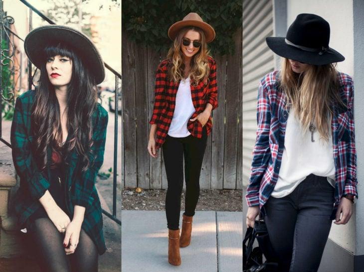 Outfits con blusa de leñador; camisa de cuadros con sombrero