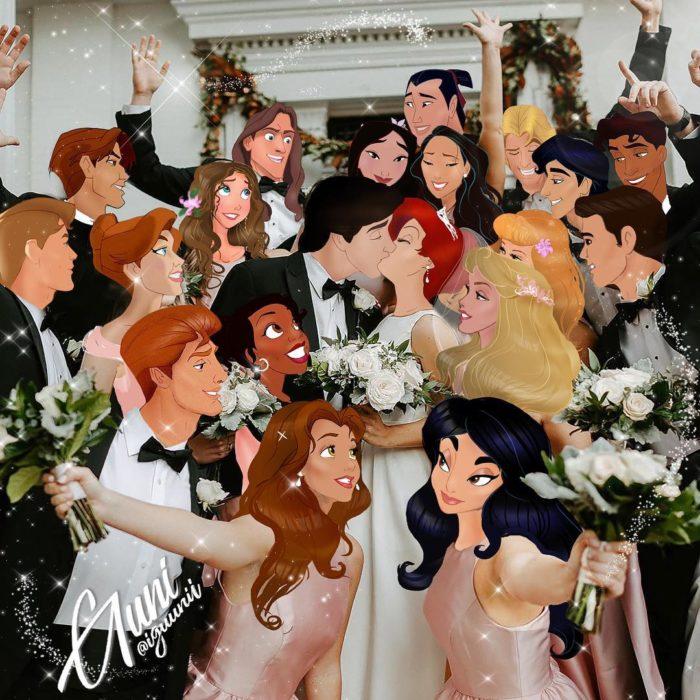 Fotografía de la boda de Ariel y el príncipe Erick