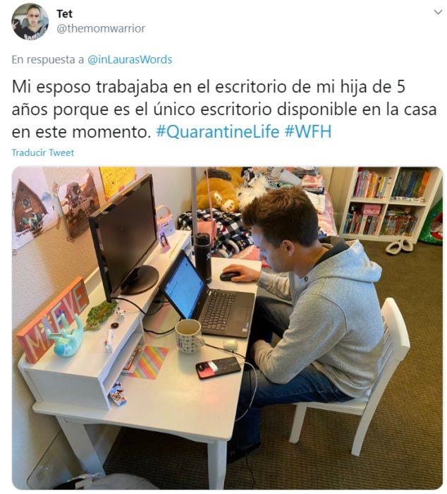 Captura de Twitter con relato de reacción ante faceta de personalidad de su familia por home office