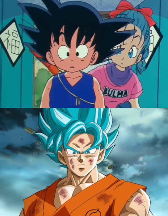 Caricaturas antes y después; Dragon ball Z