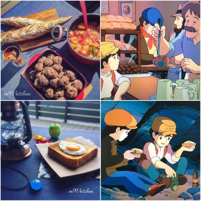 Recreación de comida de películas de Studio Ghibli, pan con huevo