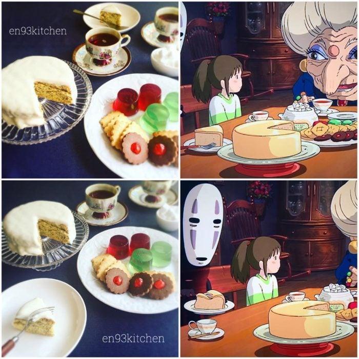 Recreación de comida de películas de Studio Ghibli, pastel, galletas y gelatina