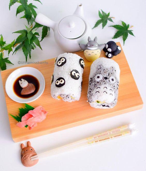 Rollos de sushi inspirados en Mi vecino Totoro