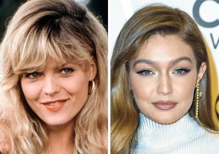 Comparación de belleza entre gigi hadid y Michelle Pfeiferr