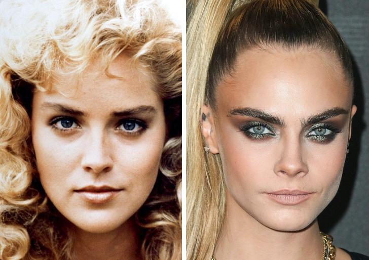Comparación de belleza entre Sharon Stone y Cara Delevigne