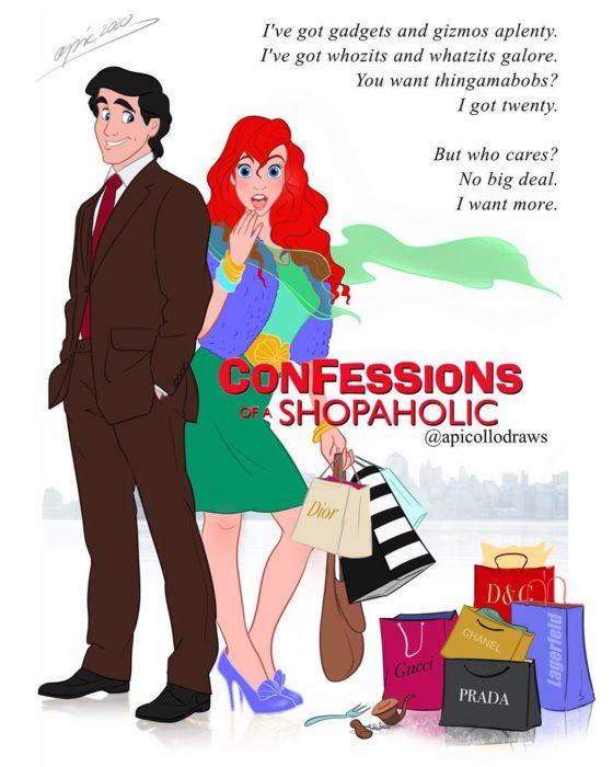 personajes de Disney en la portada de la película Confessions of a shopaholic