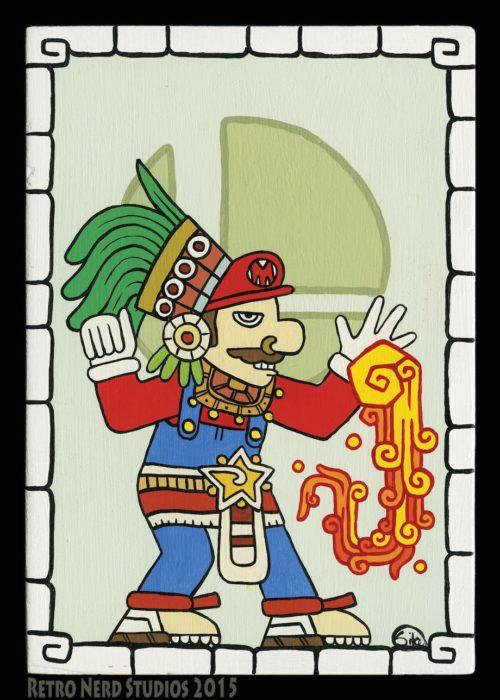 Ilustraciones de personajes de Nintendo imaginados como deidades de la cultura maya