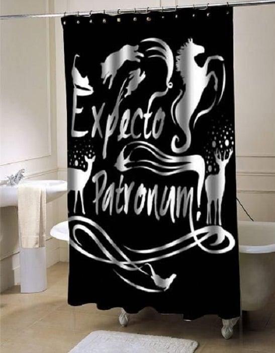 Cortina de baño de Harry Potter con la hechizo Expecto Patromum