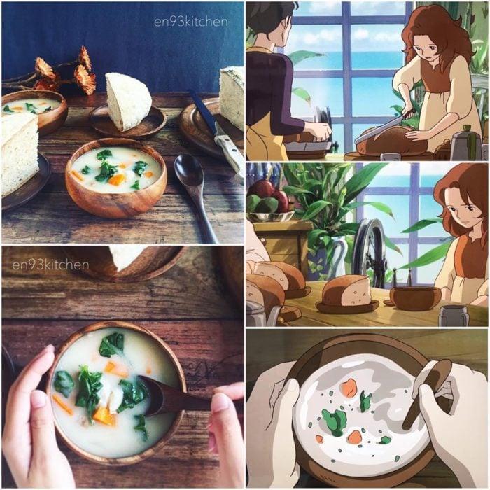 Recreación de comida de películas de Studio Ghibli, crema de cocido