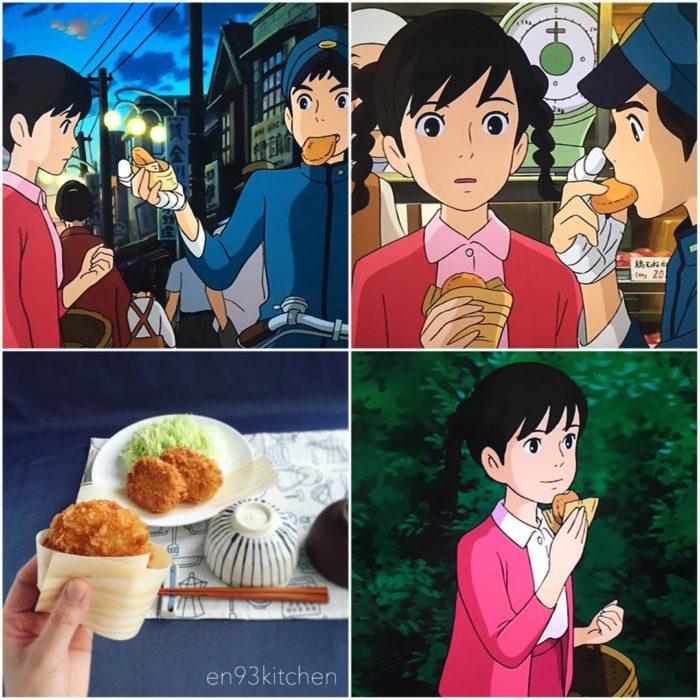 Recreación de comida de películas de Studio Ghibli, croquetas