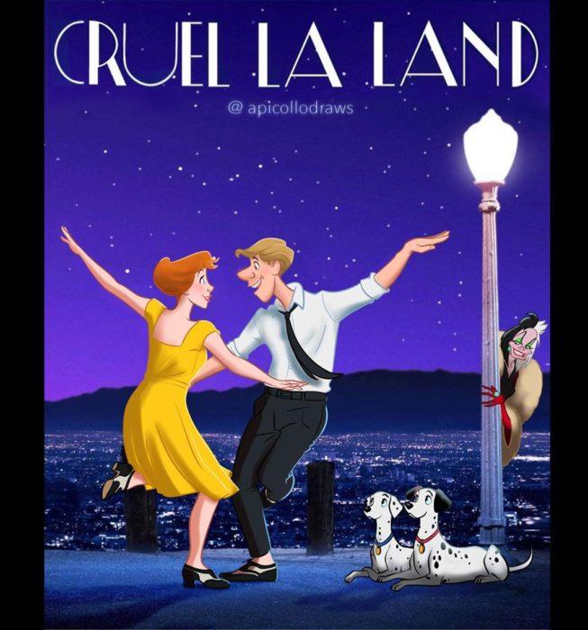 personajes de Disney en la portada de la película La la land
