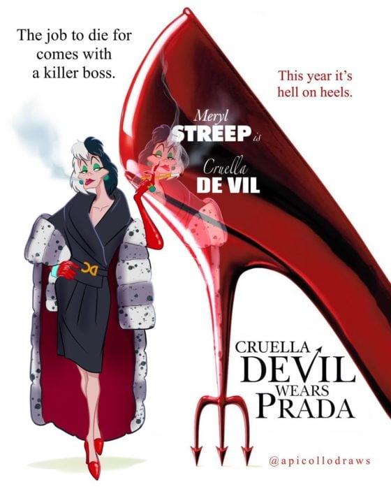 personajes de Disney en la portada de la película El diablo viste a la moda