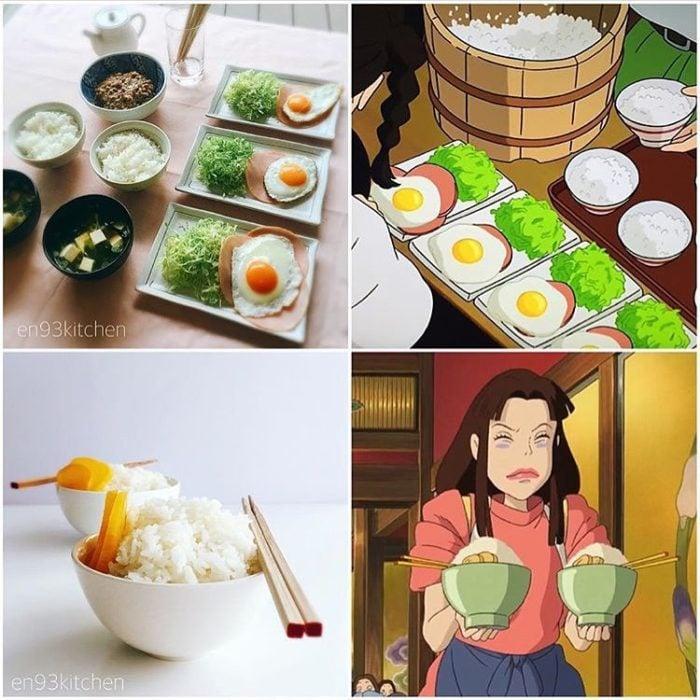 Recreación de comida de películas de Studio Ghibli, arroz y huevo