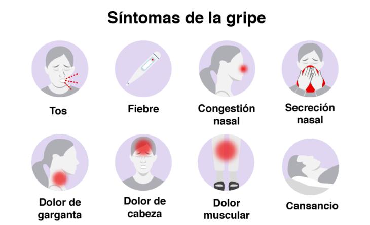 Infografía sobre los síntomas de la gripe