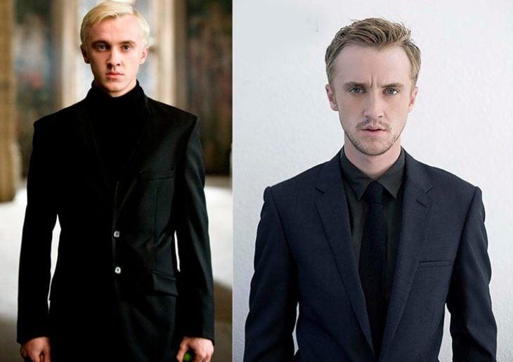 Foto comparativa del personaje Draco Malfoy, con el actor que le dio vida Tom Felton