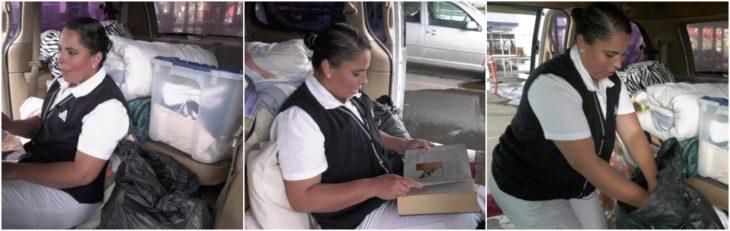 Silvia Rosas Saucedo viviendo dentro de su camioneta para evitar contagio por coronavirus en su familia