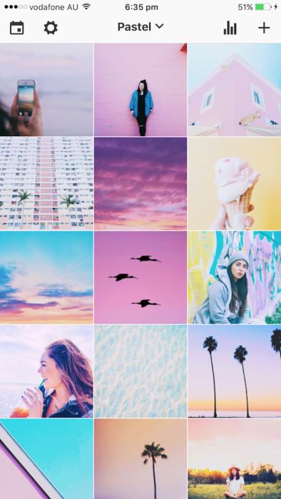 Feed de instagram con estilo de tonalidades pastel