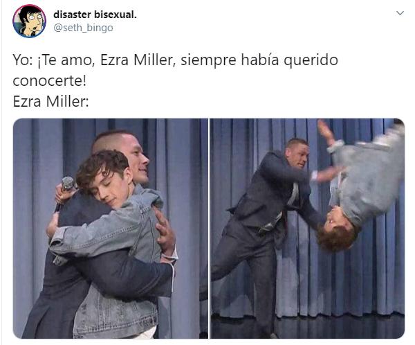 Comentarios en twitter sobre Ezra Miller ahorcando a una fan