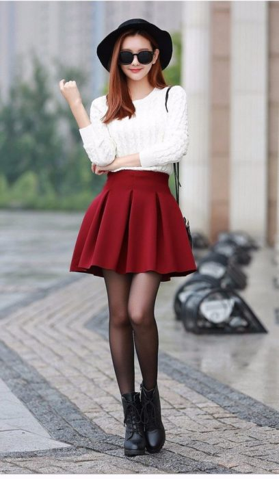 Korean girl in white blouse and red skirt