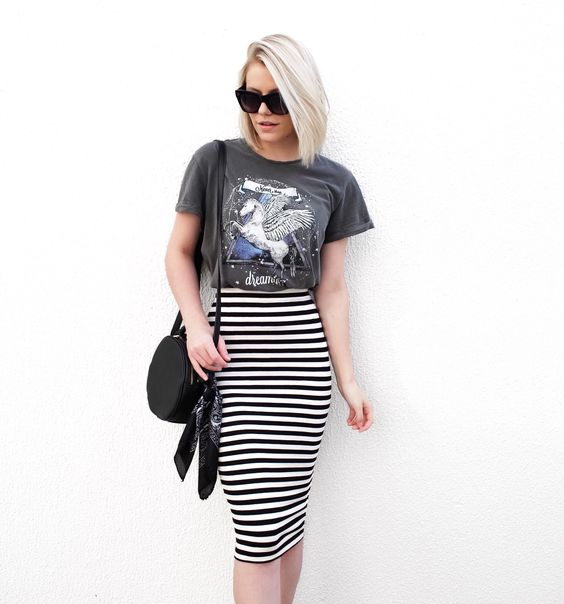 Girl with black and white pencil skirt