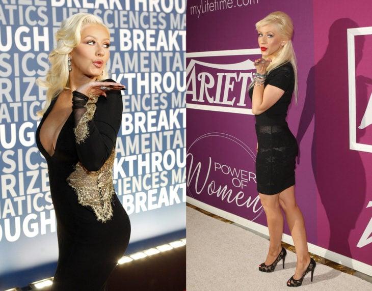 Cristina Aguilera posando de la misma manera en las alfombras rojas