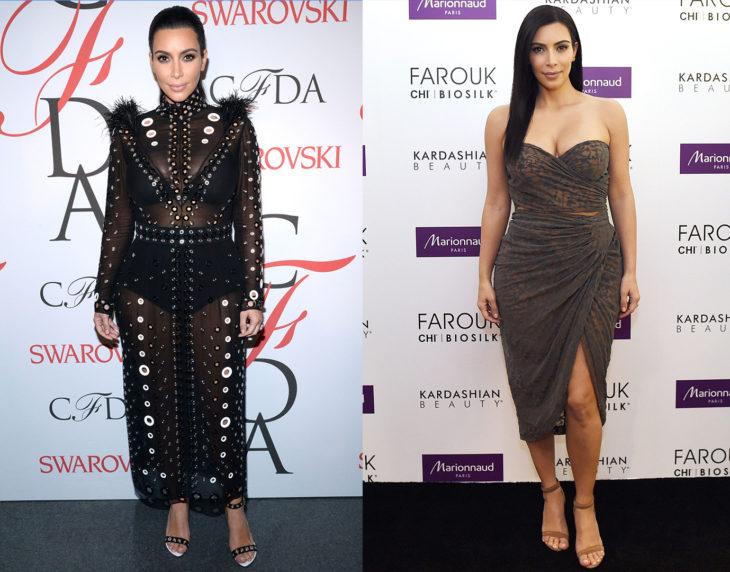 Kim Kardashian posando de la misma manera en las alfombras rojas