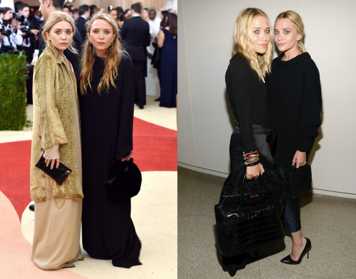 Mary Kate y Ashley Olsen posando de la misma manera en las alfombras rojas