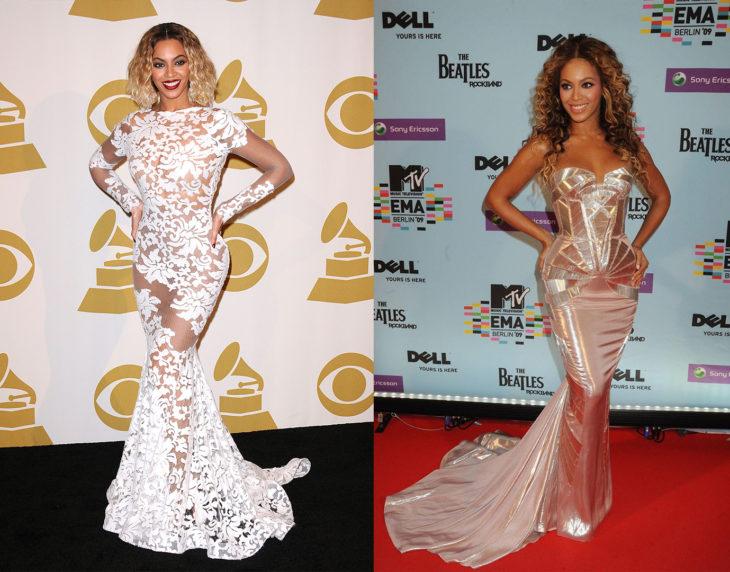 Beyoncéposando de la misma manera en las alfombras rojas