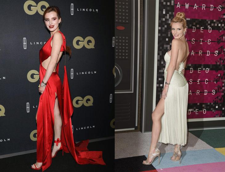 Bella Thorne posando en una alfombra roja