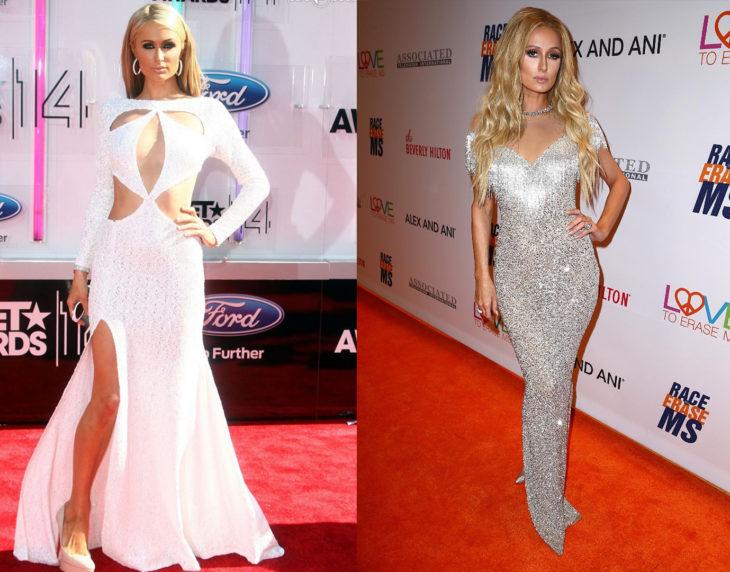 Paris Hilton posando de la misma manera en las alfombras rojas