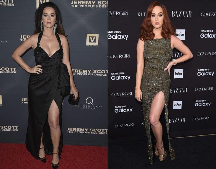 Katy Perry posando de la misma manera en las alfombras rojas