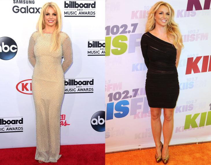 Britney Spears posando de la misma manera en las alfombras rojas