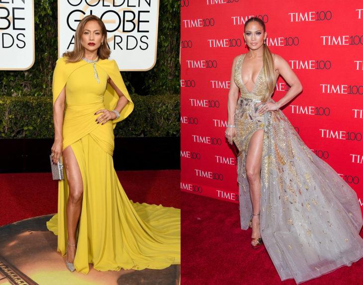 Jennifer Lopez posando de la misma manera en las alfombras rojas