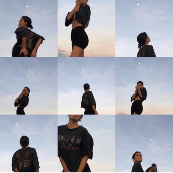 Collage fotos con de chica de cabello recogido y blusa y short negros