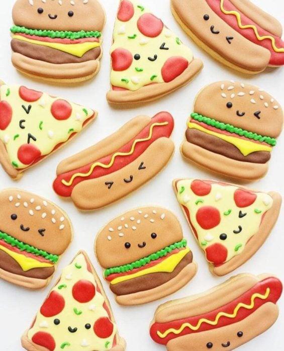 Galletas para festejar el día del niño de hotdogs, pizza y hamburguesas
